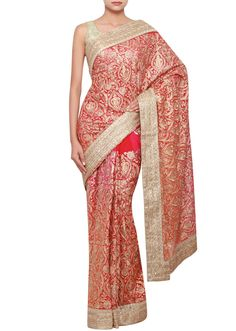 Two-toned georgette saree in fuschia and orange embellished in zari, stone and zardosi only on Kalki