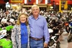 Claudia and Mark Woods on the showroom at Woods Cycle Country in New Braunfels, TX #WoodsCycleCountry
