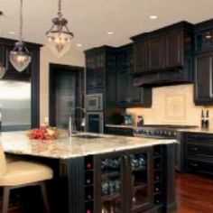 Dream Kitchen - espresso cabinets and light granite.