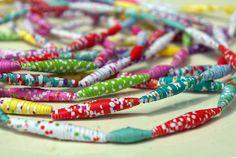 perles de papier à essayer avec du tissu (papiers Fifi Mandirac)