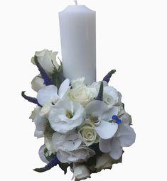 Flower Diy, Diy Flowers, Baptism Candle, Ranunculus, All White, Veronica, Hydrangea, Orchids, Boy Or Girl