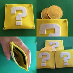 "Foamy Mario Bros Boxes. Fill with chocolate gold coins and then kids can keep it as a coin purse. Use some ""velcro"" to keep the coins inside .Nice gift for party guest!!!"