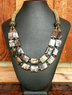 Golden Mica Stone - Jewelry creation by Madalynne Homme Brass Jewelry, Stone Jewelry, Diy Jewelry, Beaded Jewelry, Jewelry Accessories, Jewelry Making, Beaded Necklaces, Jewelry Ideas, Handmade Necklaces