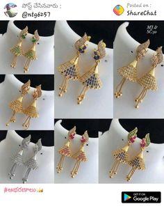 Gold Jhumka Earrings, Jewelry Design Earrings, Gold Earrings Designs, Gold Jewellery Design, Pendant Jewelry, Gold Jewelry Simple, Lahenga, Jewelry Model, Ear Rings