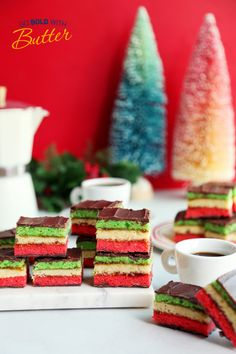 Our 3rd Place winner in the 2020 Holiday Cookie Recipe Contest is a fun and festive layered cookie by Michaelann G. This recipe is a family original, created by Michaelann's grandmother, Maria. The recipe uses over three sticks of butter baked into three cookie layers sandwiched together with fig jam and topped in rich chocolate. Holiday Cookie Recipes, Holiday Cookies, Green Cake, 1 Stick Of Butter, Almond Paste, Fig Jam, Green Food Coloring, Cake Pans, Recipe Using