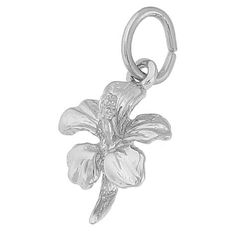 Hibiscus Flower Charm $17.50 https://www.charmnjewelry.com/sterling-silver-charms.htm #CharmBracelet