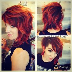 Asym shag shave wavy red hair Cute!