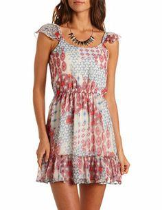 Printed Flutter Sleeve Dress: Charlotte Russe