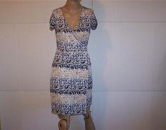 ANN TAYLOR LOFT Faux Wrap Dress XS Stretch Animal Print Short Sleeves Womens #AnnTaylorLOFT #WrapDress #WeartoWork