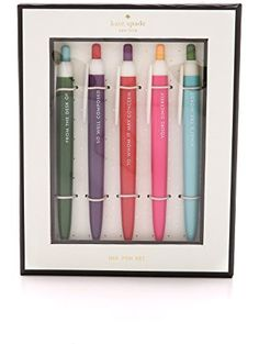kate spade new york Pen Set - Assorted, 5 Pens ❤ kate spade new york