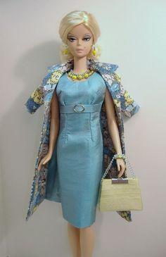 New Handmade Dress and Coat Set for Silkstone Fashion Model Barbie ( slim body )