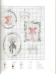 point de croix vintage corsets - cross stitch vintage corsets - lingerie