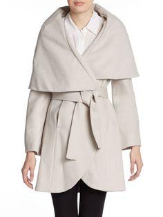 T Tahari Marla Coccoon Wrap Coat in Beige (macrame) Wrap Coat, Discount Designer, Autumn Fashion, Beige, Clothes For Women, Jackets, Dark Fantasy, Stuff To Buy, Macrame