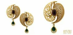 Intricately finished eardrops and pendant by VBJ - Latest Jewellery Designs Pearl And Diamond Earrings, Gold Earrings, Diamond Jewelry, Gold Jewelry, Chain Jewelry, Gold Necklace, Pendant Set, Gold Pendant, Pendant Jewelry