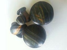 6mm singleflared, 8mm singleflared & 20mm doubleflared falconeye stone plugs