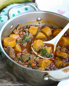 African Beans and Plantains-A one -pot- meal with kale that's quick and easy. No frying required , yet it's still quite tasty.