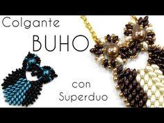 Abalorios - Colgante Buho con Superduo  (3 colors superduos, 8mm pearls, 3mm bicones, 8's, 11's, and 15's.)