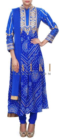 Buy Online from the link below. We ship worldwide (Free Shipping over US$100) Price- $219 Click Anywhere to Tag http://www.kalkifashion.com/royal-blue-bandhani-suit-adorn-in-gotta-patch-work-only-on-kalki.html