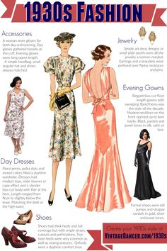 1930s fashion, clothing, shoes and accessories for women's styles day and evening. Get the thirties look at vintagedancer.com