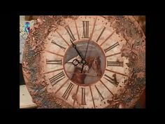 Clock's decoupage with volume decor imitating a metal surface. Diy. Handmade - YouTube
