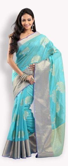 Beautiful blue Zari SAree