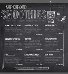 Ideas For Fruit Juice Shop Design Ideas Smoothie Bar, Smoothie Names, Juice Bar Menu, Fresh Juice Bar, Chalk Menu, Menu Board Design, Juice Bar Design, Restaurant Menu Design, Restaurant Identity