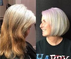 Transitioning to Gray Hair NEW Ways to Go Gray in 2020 – Hair Adviser - Going Gray Hair 2020 Grey Hair Care, Grey Blonde Hair, Long Gray Hair, Grey Hair Before And After, Natural White Hair, Short Hair Cuts, Short Hair Styles, Grey Hair Looks, Grey Hair Transformation