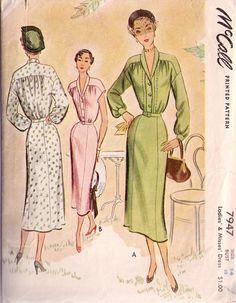 McCall 7947 Dress Vintage Paper Pattern 1950 Size14 Bust 32