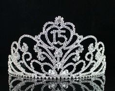 Janfashions Quinceanera Coronas de Quinceañeras Sweet 15 Fifteen Birthday Party Clear White Austrian Rhinestone Crystal Princess Hair Jewelry Tiara Crown With Hair Combs Silver Quinceanera Tiaras, Quinceanera Dresses, Crystal Crown, Stone Heart, Gold Rhinestone, Tiaras And Crowns, Hair Jewelry, Jewlery, Bridal Accessories