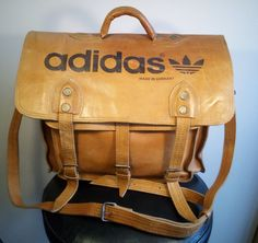 44aa94386c6ac3 ADIDAS Real Leather Bag   Trefoil   Vintage   made in West Germany    Shoulder Bag