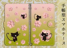 【中面白無地】手帳型スマホケースS/M 桜猫◆3色団子色