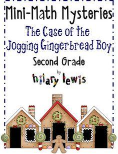Math Mini Mystery Freebies 2nd grade Case of the Jogging Gingerbread Boy