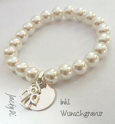 Handgefertigtes Perlenarmband mit 925er Silberanhänger Engel für Babys zur Geburt oder Taufe.  inkl. Wunschgravur
