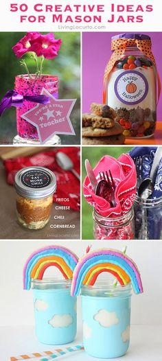 50 Creative Ideas for Mason Jars! Crafts, Gifts, Food, Decorations and home decor.
