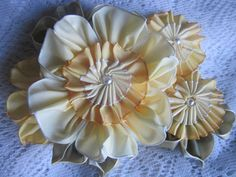 Vintage Style French Ombre Millinery Ribbon Flower Pin Ribbonwork Yellow | eBay