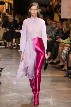 Vetements Spring 2017 Ready-to-Wear Fashion Show, I really love the colour combination between the dark and light pinks perhaps a purple could go underneath the top ?