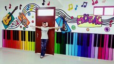 School Hallways, School Murals, Art School, Class Decoration, School Decorations, Music Classroom, Classroom Decor, Mural Art, Wall Murals