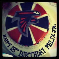 Atlanta Falcons cake. Yellow cake with chocolate buttercream filling.  $65.00