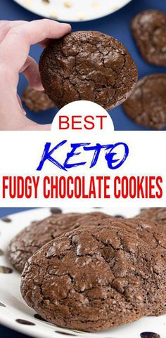 Check out this Keto Chocolate Brownie Cookies. Easy Low Carb Keto desserts recipe that is quick and delish! Great homemade not store bought keto snacks on go or keto breakfast cookie. Brownies Cétoniques, Brownies Caramel, Chocolate Brownie Cookies, Gluten Free Chocolate Cookies, Chocolate Desserts, Keto Desserts, Keto Snacks, Dessert Recipes, Quick Snacks