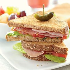 Prosciutto, Lettuce, and Tomato Sandwiches...substitute chicken slices or lean ham.