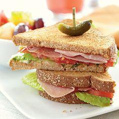 Prosciutto, Lettuce, and Tomato Sandwiches...substitute chicken slices or lean ham.