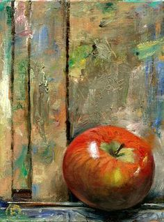 An Apple on the Easel, Nigel Fletcher 2014 - http://www.nigelfletcher.co.uk/cotswold-sketchbook/ - A beautiful still life, simple and yet delicately painted. Have you spotted the word apple inscribed on the easel?