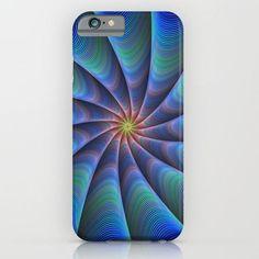 Blue fractal iPhone 6 Slim Case