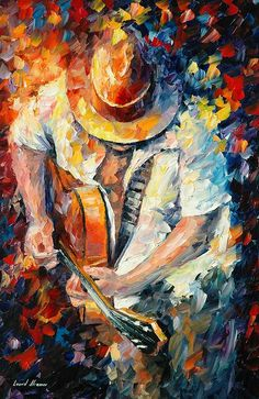 Guitar and soul - palette knife oil painting on canvas by leonid afremov ht Guitar Painting, Music Painting, Knife Painting, Oil Painting On Canvas, Canvas Canvas, Guitar Drawing, Mixed Media Painting, Frida Art, Palette Knife