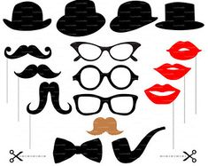 Mustache photobooth props (SVG, EPS, PNG) digital cutting files, svg, vector eps cutting file, die cut, silhouette cameo EasyCutPrintPD
