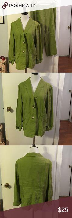 J. Jill green linen 2 pc pantsuit 100% linen. Great for summer. Lightweight J. Jill Other