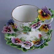 "Crockery manual work. Fair Masters - handmade Tea pair ""Pansies"". Handmade."