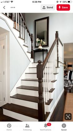 Your daily dose of Inspiration: Traditional Home Winding Staircase Landing Design, Pictures, Remodel, Decor and Ideas – page 3 Painted Stair Railings, Painted Staircases, Wood Railing, Painted Stairs, Wooden Stairs, Banisters, Hardwood Stairs, Staircase Landing, Winding Staircase