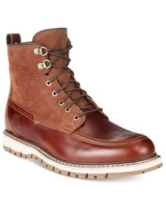 Timberland Men's Britton Mountain Boots take to the elements in style with a waterproof upper and rugged sole. | Leather upper; rubber sole | Imported | Lace-up closure with metal eyelets | No padded