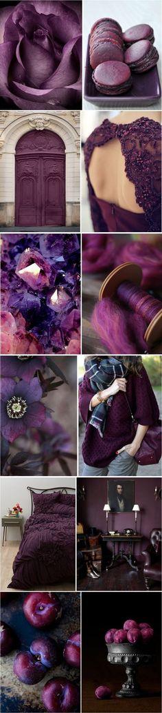 New Ideas wedding colors palette jewel tone Colour Schemes, Color Trends, Color Combinations, Paint Schemes, Colour Palettes, Shades Of Purple, Deep Purple, Plum Purple, Burgundy